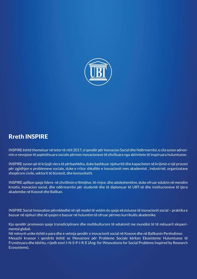 """UBT shpall konkurs për dizajnimin e logos dhe faqes së internetit të qendrës """"INSPIRE"""""""