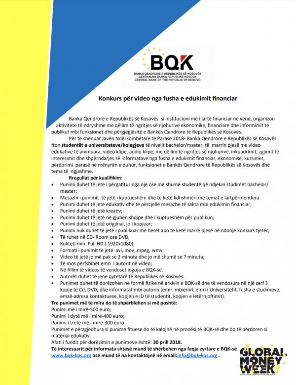 BQK fton studentët të aplikojnë në konkursin për video dhe audio nga fusha e edukimit financiar