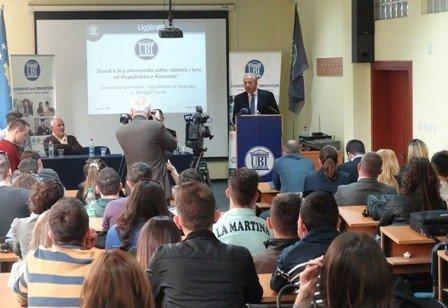 Zëvendëskryeministri Pacolli studentëve të UBT-së u shpjegoi  idenë e zonave të lira ekonomike