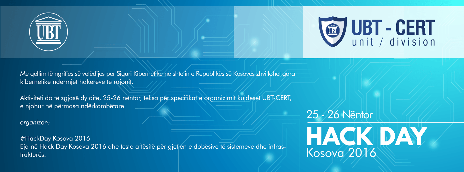 "UBT-CERT organizon aktivitetin ""HackDay Kosova 2016"""
