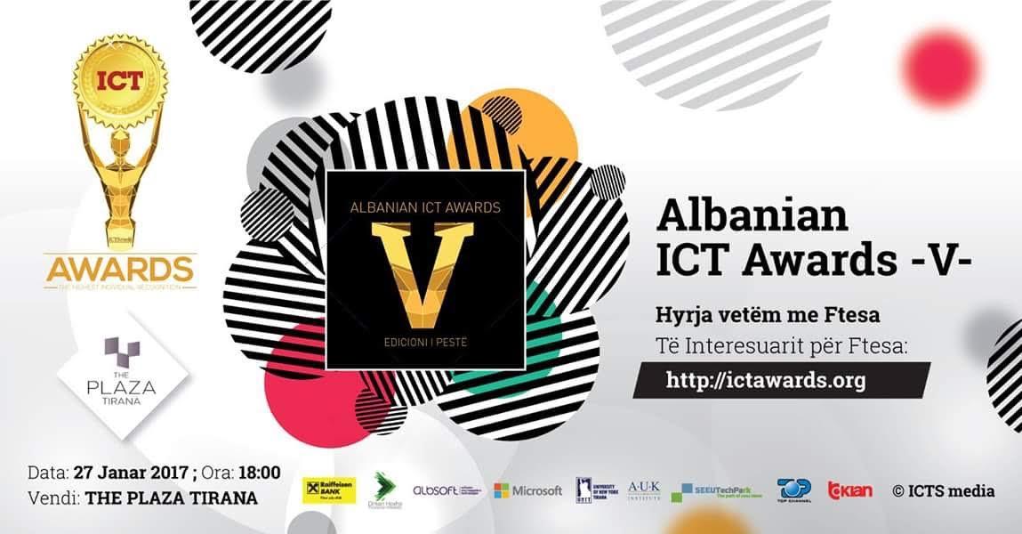 """Të premten, më 27 janar do të bëhet hapja solemne e edicionit të pestë të konkursit mbarëkombëtar,""""ICT Awards"""", organizuar nga Albanian ICT Awards, në Shqipëri."""