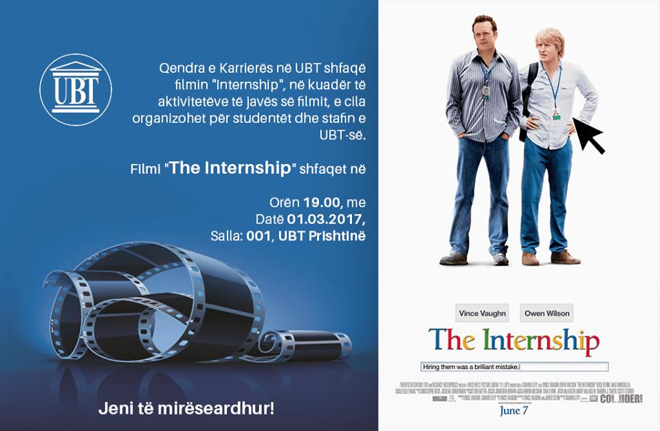 """Në UBT, të mërkurën shfaqet filmi """"The internship"""""""