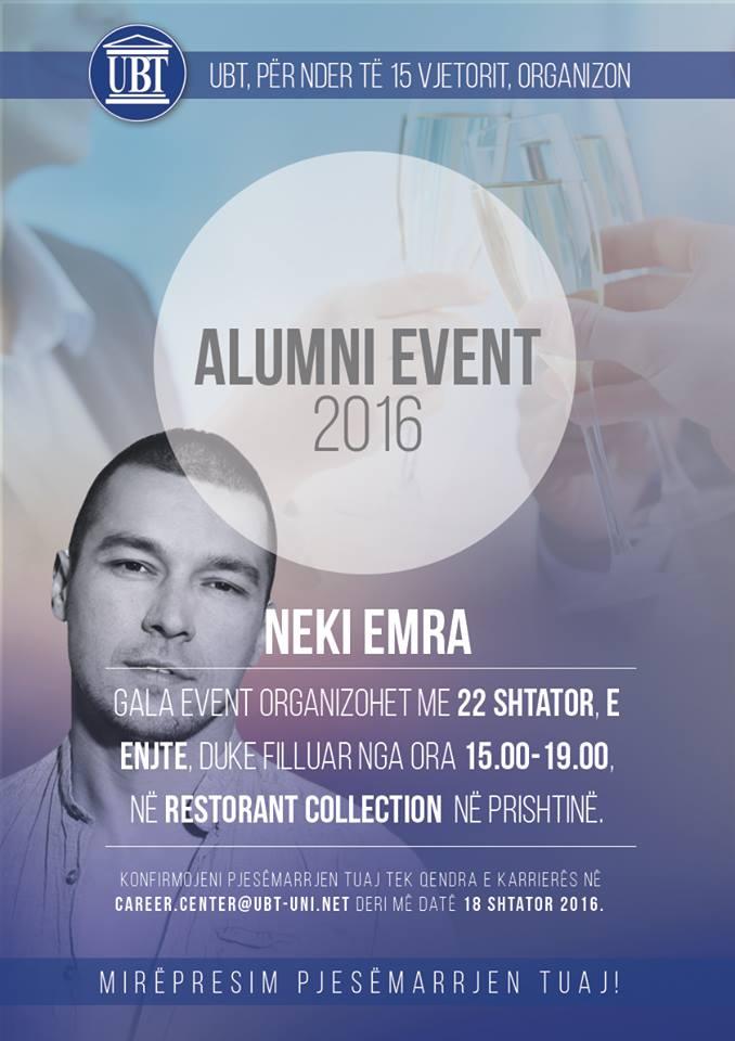 UBT, për nder të 15 vjetorit, organizon mbledhjen tradicionale të të diplomuarve (Alumni Event) 2016
