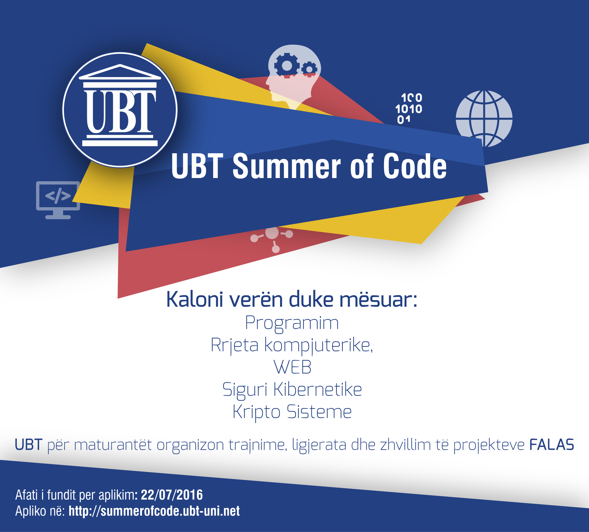 MATURANTË –  Kaloni verën duke mësuar FALAS në UBT Summer of Code 2016