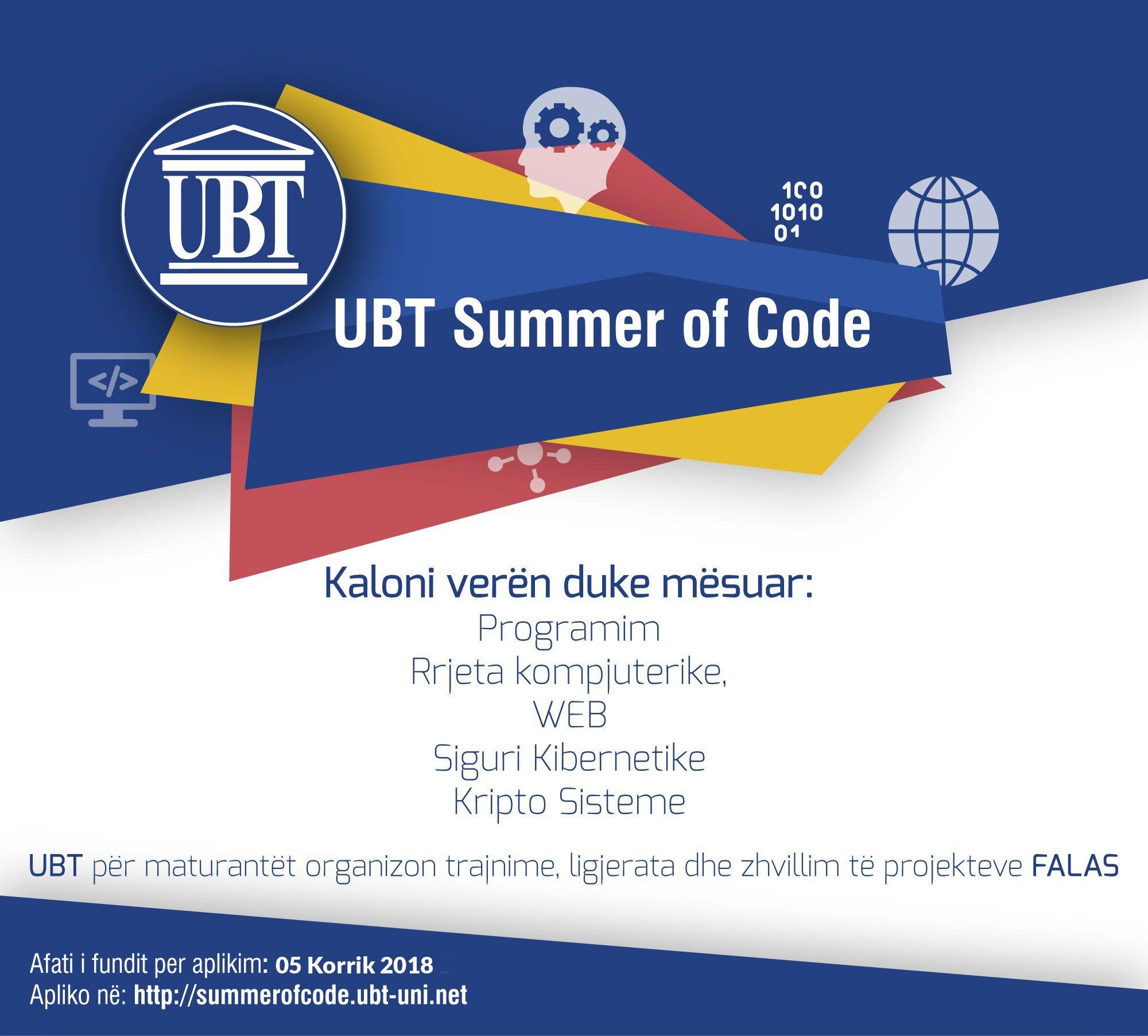 """Hapet aplikimi për maturantë për pjesëmarrje në """"UBT Summer of Code"""""""