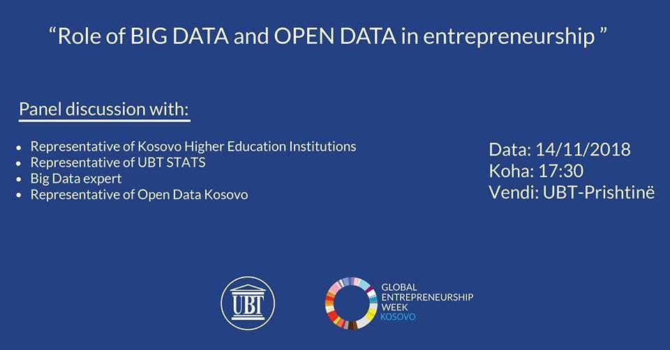 NJOFTIM: Sot për pjesëmarrësit e Javës Ndërkombëtare të Ndërmarrësisë, në UBT mbahet diskutim i hapur për rolin e Open Data dhe Big Data