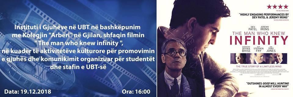 """Të mërkurën, UBT shfaq në Gjilan filmin """"The man who knew infinity"""""""
