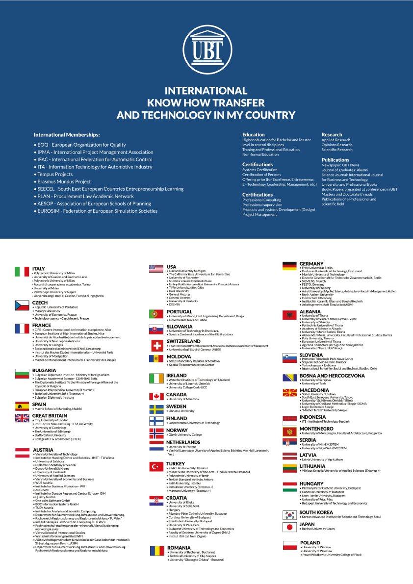 UBT vlerëson lartë bashkëpunimin me institucionet arsimore ndërkombëtare gjatë vitit 2018