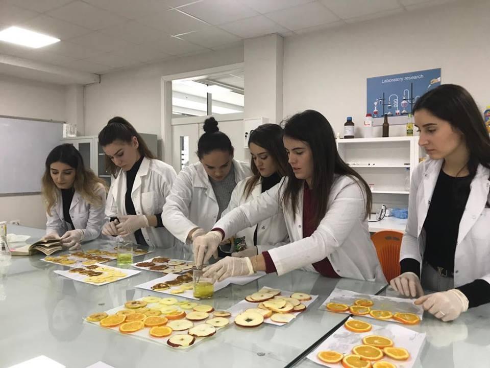 Studentët e Shkencave të Ushqimit dhe Bioteknologjisë përgatitin produkte ushqimore në laboratorët e UBT-së