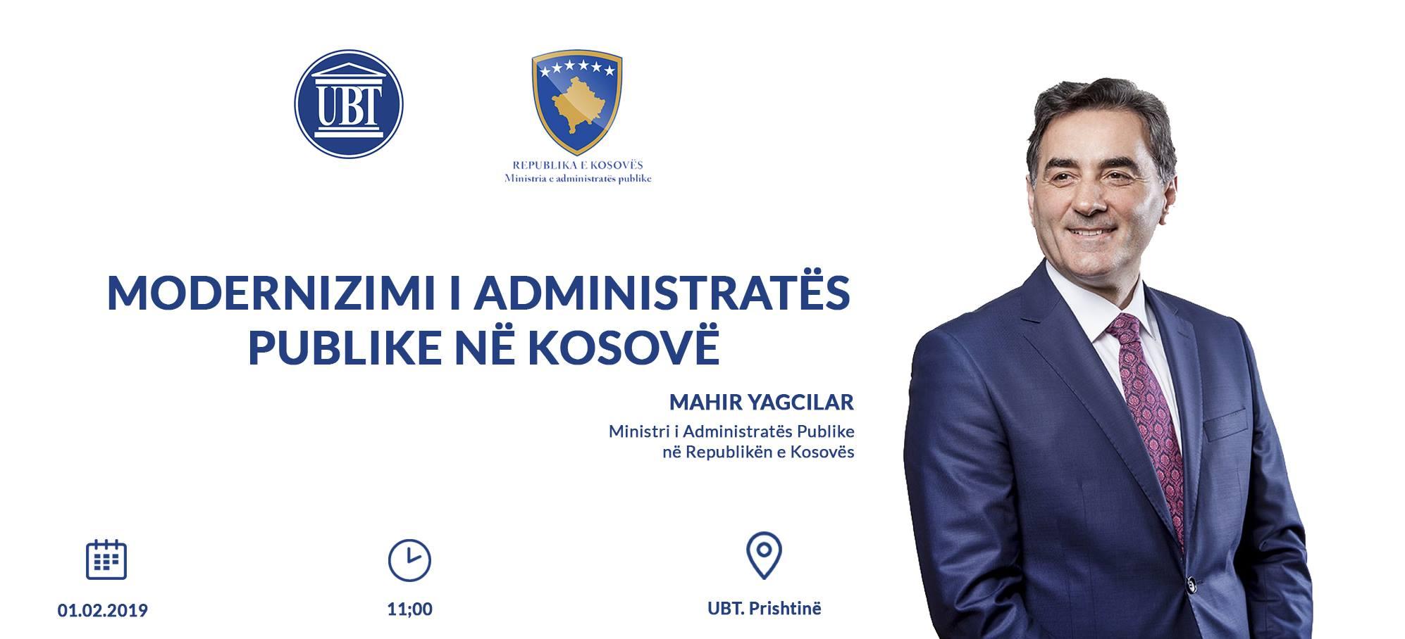 NJOFTIM: Të premten, ministri i Administratës Publike, Mahir Yagcilar do të ligjëroj para studentëve të UBT-së