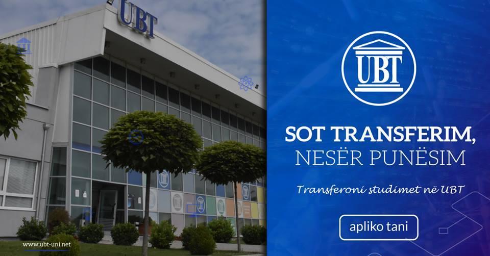 Transfero studimet në UBT, bëhu pjesë e historisë së re të Kosovës