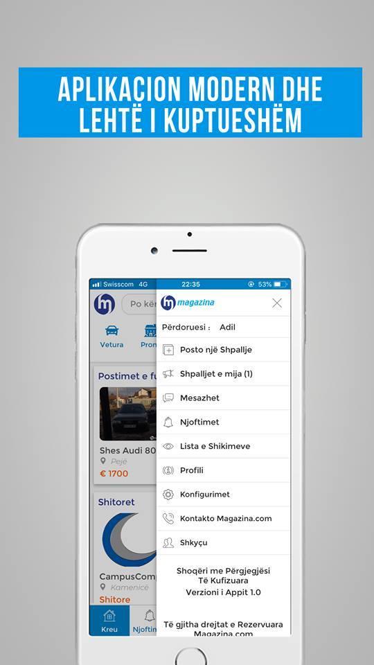 """Ish-studenti Visar Limani krijon aplikacionin iOS dhe Android të ueb faqes """"Magazina.com"""""""
