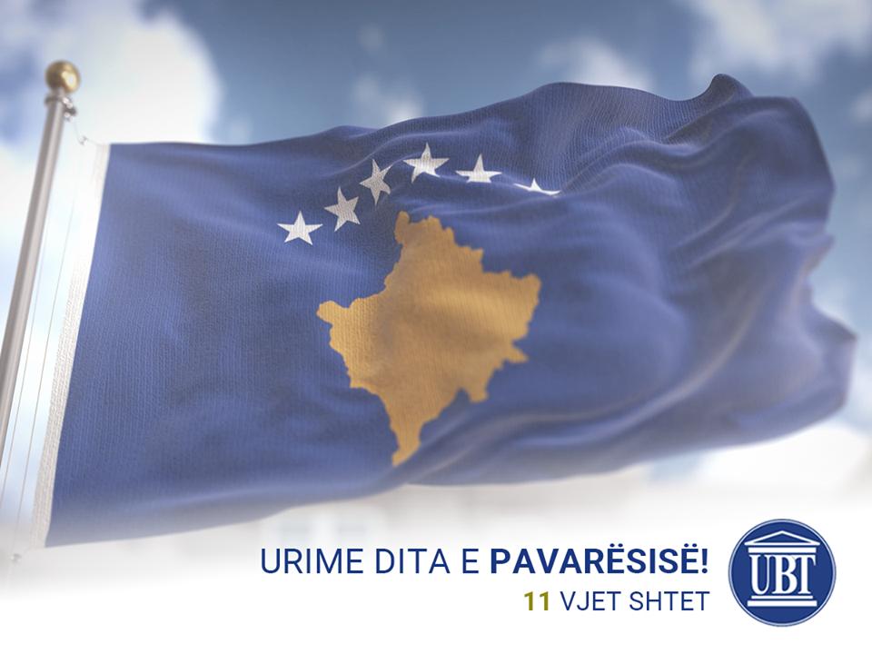 UBT uron shqiptarët për 11-vjetorin e Pavarësisë së Kosovës