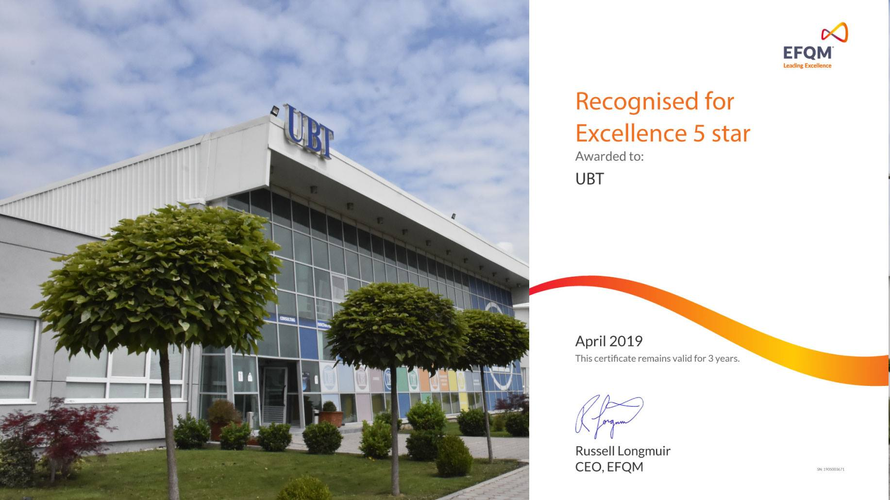 UBT is certified and awarded with the Five Star Excellence Award