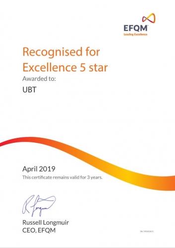 UBT certifikohet dhe vlerësohet me Çmimin e Ekselencës me Pesë Yje